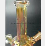 Gelbes hohes Borosilicat-Glas-Huka-Filter-Wiederanlauf-Wasser-Rohr