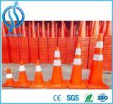 Segurança rodoviária flexível laranja fluorescente PVC Cone de tráfego
