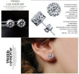 Platino o plata esterlina Gold-Plated Round-Cut Zirconia Stud Earrings Sencillos pendientes