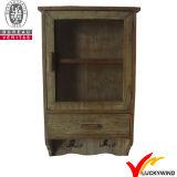 Almacenamiento Negro época pequeñas de madera Gabinete de pared con puertas de vidrio
