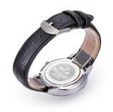 Llegada de más reciente de cuarzo encantador Excelente reloj de pulsera de cuero auténtico hombre cara Sol de Oro,Plata Japón PC21 Nombre de marca de moda Belbi movimiento