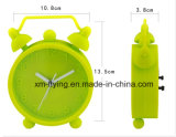 Vente en gros Fluencent Décoration à la maison Twin Bell Silicone Mini Table Alarm Clock