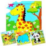 9 Stück-hölzerner Zoo-Tierpuzzlespiele für Kind-buntes pädagogisches