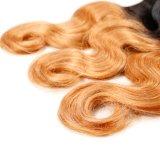 Trama del pelo humano de Remy de dos colores