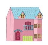 Plegable de Madera Rosa Linda Casa de muñecas de juguete para niños y los niños