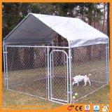 屋根が付いている電流を通されたチェーン・リンク犬の犬小屋