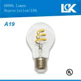 7W Blanco cálido 800lm A19 E26 regulable bombilla de filamento en espiral de luz LED