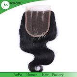 100% Remy Cheveux humains indiens bon marché de gros de la fermeture d'onde desserrés