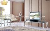 卸売価格のホーム家具の現代ガラス大理石の上のステンレス鋼TVの立場