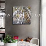 伸ばされたベージュ樺の木のパレットナイフの油絵の重油および組織上の効果