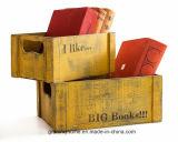 시골풍 나무로 되는 교사를 위한 크레이트 홈 장식 책벌레 선물 사서 선물 책 애인 선물에 의하여 개인화되는 나무로 되는 크레이트 주문을 받아서 만들 선물