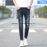 Calças de corte retro para homens de alta qualidade Leisure Patch Ripped Jeans