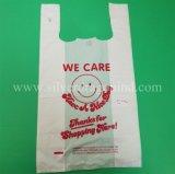 HDPE Einkaufstasche, Plastikshirt-Beutel, Zoll gedruckt, niedriger Preis