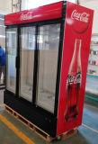 高品質の清涼飲料のクーラーが付いているベストセラーの3つのドアの縦の表示クーラー