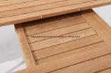 Mesas de jantar de extensão de mobiliário de exterior em teca com estrutura em aço inoxidável