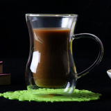 Vaso de zumo de doble pared de cristal mesa de café café de vidrio de borosilicato