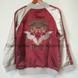 Chaqueta de seda de lujo bordada con estilo de encargo del satén de la insignia