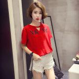 편리한 여자의 t-셔츠 간결 소매