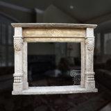 Lareira de mármore simples no desenho floral Hand-Carved fino e boa qualidade