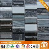 白黒大理石およびガラスによって網取付けられるモザイク・タイル(M855048)