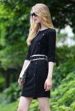 Женщины Side Одиночное-Breasted Fashion Black Dress с Belt