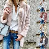 De vrouwen plus Grootte kleurden het Toevallige Jasje Outwear van de Winter van de Herfst van de Dames 2018 van de Bontjas Faux Elegante Roze Warme Zachte Overmaatse