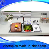 De duurzame Gootsteen van de Keuken met de Vloeibare Automaat van de Zeep van de Hand
