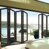 Puerta de plegamiento de aluminio de la rotura termal del diseño del hotel con Doulbe esmaltada (FT-D75)