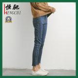 Frauen-blaue dünne Förderung gewaschene Gamaschen-Form-Jeans