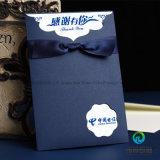 Kundenspezifische tiefe blaue preiswertere Einladungs-Karte mit Farbband-Basisrecheneinheits-Knoten