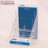 Présentoir acrylique transparent de brochure de feuillet de partie supérieure du comptoir