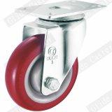 Mittlere Aufgabe PU-Gewinde-Stamm-Oberseite-Bremsen-Fußrolle (G3201)