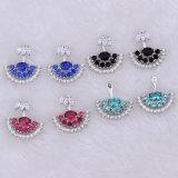 カラー宝石類のイヤリングの3Dデザイン宝石類の女性の方法ジルコニア