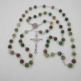 Rosary голубого камня Rosary 8mm католического распятия вероисповедный (IO-cr415)