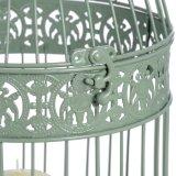 Gabbia di uccello antica decorativa del ghisa grigio
