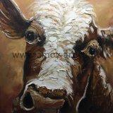 Animal pintados à mão puro pinturas a óleo sobre tela Vaca Mudo para decoração