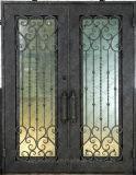 La doble puerta de hierro negro para la entrada asequible al por mayor de la puerta de hierro forjado (EI-001).