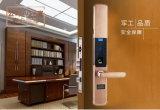 Bloqueo de puerta biométrico de cobre amarillo de la palabra de paso del bloqueo de puerta del apartamento del acceso de la huella digital