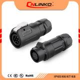 Cnlinko Company 원형 물 증거 IP67 7 Pin 철사 단단한 질을%s 가진 빠른 잠그는 차단 전원 연결 장치