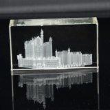 Cubo do cristal da gravura do laser do presente 3D do Natal