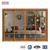 Industrial Sliding Glass Door with Grills Aluminum Profiles Doors