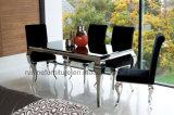 Vector de cena de cristal moderno con y plata de 8 sillas del terciopelo