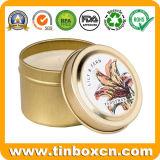 최신 판매 주문 금속 주석 상자 둥근 초 양철 깡통