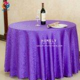 ホテルの宴会の綿党イベントのための白い結婚式の円卓会議の布