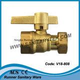 Straight Brass Válvula de bola bloqueable para contador del agua (V18-807)
