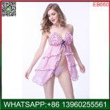 2018 Novo Modelo de lingerie sexy Nightgown Rosa com design de ondas