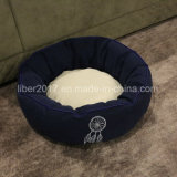 Rundes blaues warmes Krapfen-Haustier-Hundebett