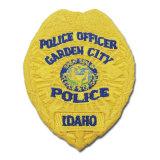 最近カスタマイズされた黄色いカラー警察の刺繍パッチ