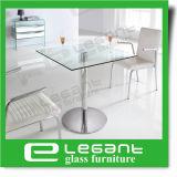Acier inoxydable Table à manger avec le verre trempé Haut de page