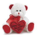 Urso peludo branco com coração vermelho para miúdos